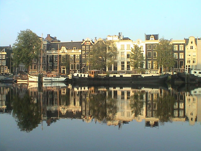 The view from our houseboat In Amsterdam